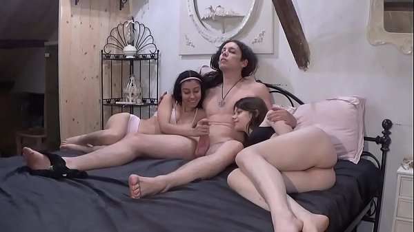 A quiet family evening turns into hot threesome