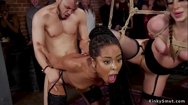 Ebony and brunette anal orgy bdsm party