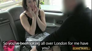 Enchanting fan woman gets hopped in the taxi and have sex